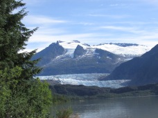 Mendenhall Glacier viewed across Mendenhall Lake.