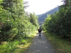 Riding the bike trails of Juneau.
