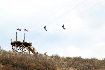 Those taking advantage of the Castle Rock Zipline Tours flew overhead Philip S. Miller Park during the first day of spring on March 20.